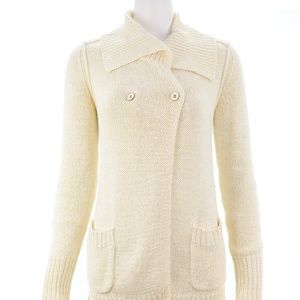 J.CREW IVORY KNIT BUTTON DOWN SWEATER SIZE S